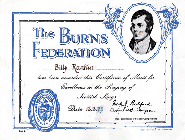 Burns Federation Certificate