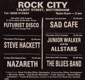 Rock City Nottingham advert 25th September 1981