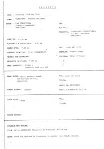 tour itinerary extract 23.5.81