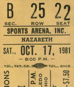Toledo Sports Arena ticket stub