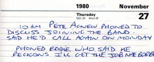 Billy's Diary 1980.11.27