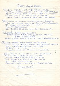 Baby Come Back lyrics from studio 1983