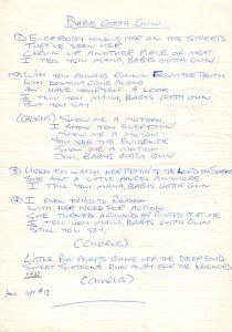 Baby's Got A Gun lyrics from studio 83