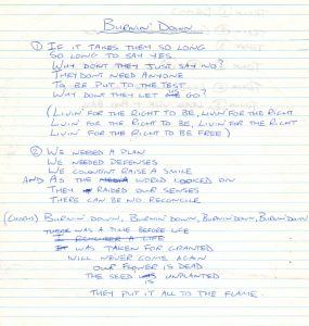 Burning Down lyrics from studio 83