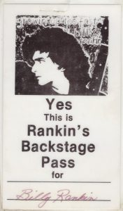 Billy's backstage pass 6/7.84