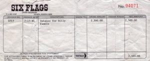 Six Flags Atlanta pay stub 17.7.84