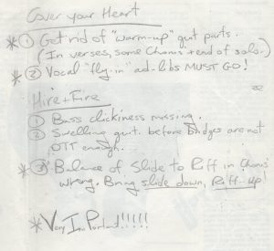 Billy's notes re mixes Far Studios, St Ingbert 8.91