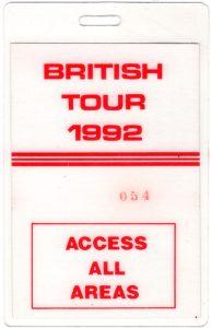 No Jive UK tour AAA pass rear 92