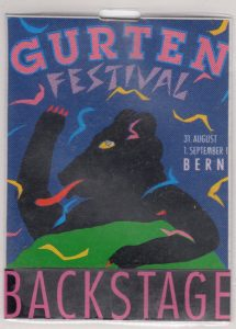Gurtenfestival,, Bern, Switzerland backstage pass 31.8.91