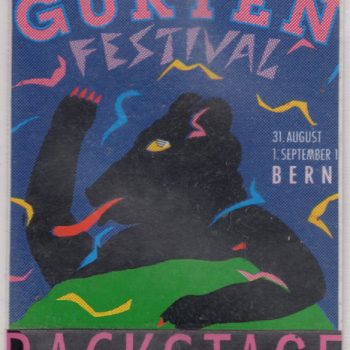 Gurtenfestival,, Bern, Switzerland backstage pass 31.8.91