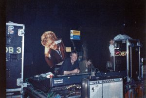 Willie McQuillan at stage monitor desk Town & Country, London 11.4.92