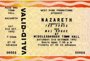 Town Hall, Middlesbrough ticket 3.10.92