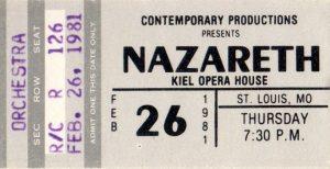Kiel Opera House, St Louis MO ticket 26.2.81