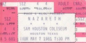Sam Houston Coliseum, Houston TX ticket 7.5.81