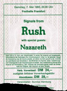 Frankfurt Festhalle ticket 7.5.83