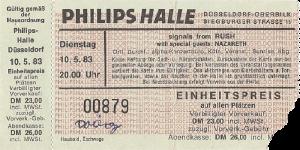 Philipshalle, Düsseldorf, Germany ticket 10.5.83