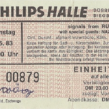 Philipshalle, Düsseldorf, Germany ticket 10.5.83