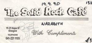 Solid Rock Café, Glasgow ticket 19.9.90