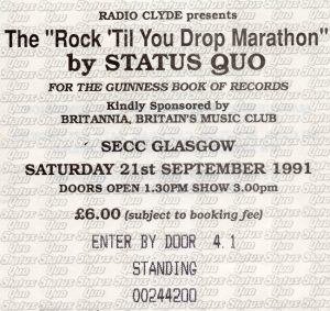 Status Quo SECC, Glasgow ticket 21.9.91