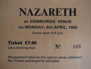 The Venue, Edinburgh ticket 6.4.92