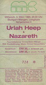 Longhorn, Stuttgart ticket 3.3.93