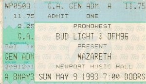 Newport Music Hall, Columbus OH ticket 9.5.93