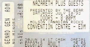 Convention Centre, Edmonton ticket 10.7.93