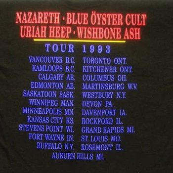 Total Recall North American tour t-shirt rear 11/12.93