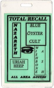Total Recall North American tour AAA pass 11/12.93