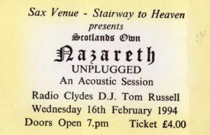 Sax, Cumbernauld ticket 16.2.94