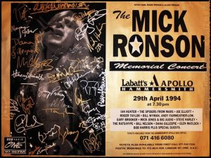 Signed Mick Ronson Memorial Concert poster