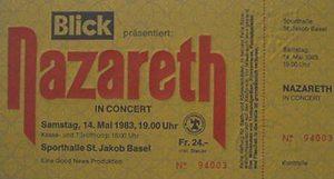 St Jakobshalle, Basel, Switzerland ticket 14.5.83