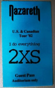 2XS North American tour guest pass 82