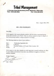 The Wildhearts audition letter 30.8.95