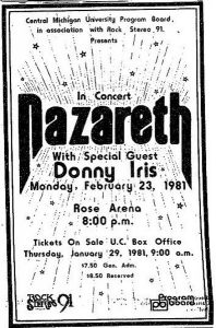Rose Arena, Mount Pleasant, MI flyer 23.2.81