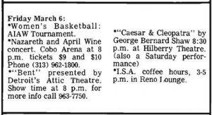 Cobo Arena, Detroit MI advert 6.3.81