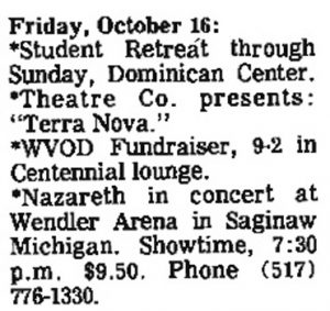 Wendler Arena, Saginaw MI advert 16.10.81