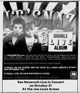 Joe Louis Arena, Detroit MI advert 31.10.81