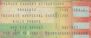 Fair Park Coliseum, Beaumont TX ticket 26.11.81
