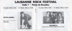 Lausanne Rock Festival flyer 14.10.83