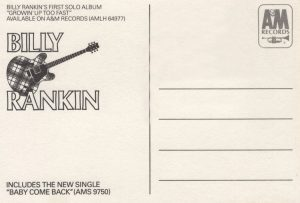 Baby Come Back promo postcard back 84