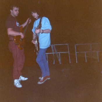 Billy with guitar tech Tam Sinclair Russia February 91