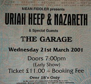 Nazareth/Uriah Heep Glasgow Garage ticket 21.3.01