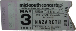 North Hall Auditorium, Memphis TN ticket 3.5.81
