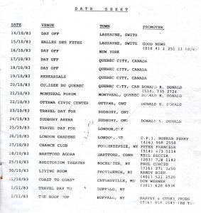 No Loss/Bullshot tour itinerary extract 10/11.83