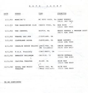 No Loss/Bullshot tour itinerary extract 11.83
