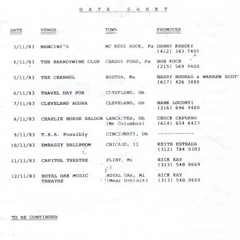 No Loss/Bullshot tour itinerary extract 11.83