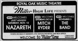 Music Theater, Royal Oak MI advert 12.11.83