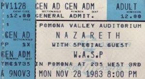 Pomona Valley Auditorium, Pomona CA ticket 28.11.83