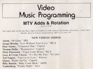 Baby Come Back added to MTV rotation 8.2.84